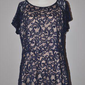 Blue Lace short sleeve peplum shirt size XL